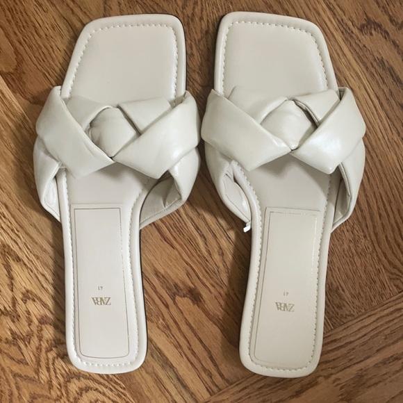 White Zara Slide Sandals (10), worn once